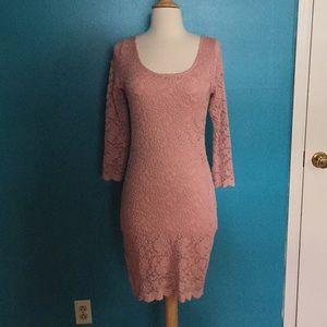 Tight fitting pink dress